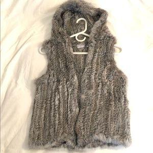 NWOT Genuine Rabbit Fur Hooded Vest   XS